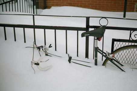 Love story between snow & bicycle