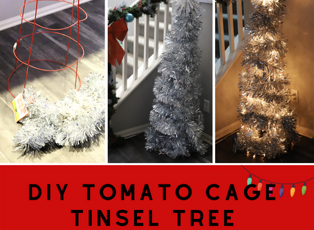 DIY Tomato Cage Tinsel Tree