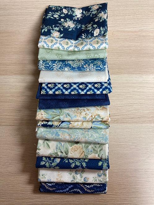 Sapphire Blossoms from Wilmington Fabrics Fat Quarter Bundle