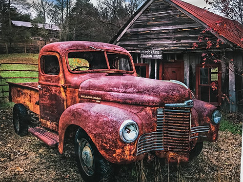 Old Red Truck and Barn Digital Panel by David Textiles