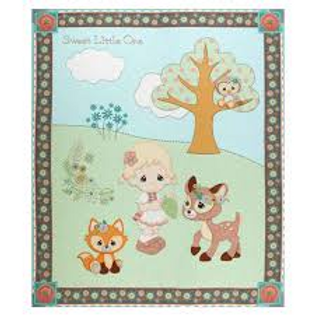 Precious Moments Woodland Baby Girl Panel