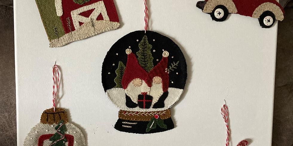 Wool Applique Christmas Ornaments