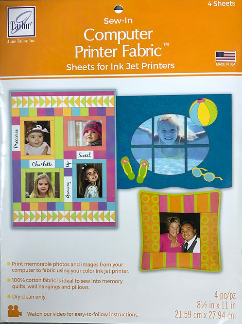 Sew In Computer Printer Fabric- Sheets for Ink Jet Printers