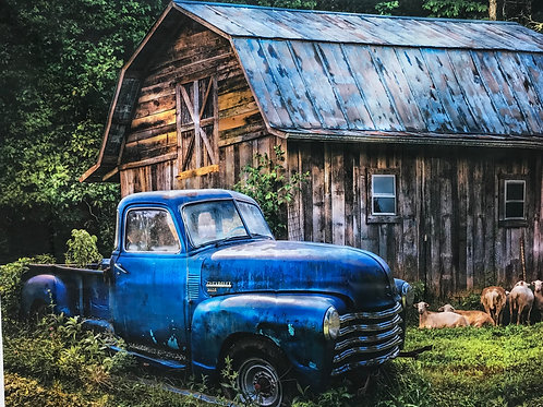 Old Blue Truck and Barn Digital Panel by David Textiles