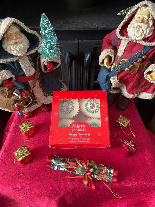 Festive Box Of Christmas Cupcakes