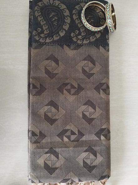 Fashion Cotton Silk Saree (Grey)