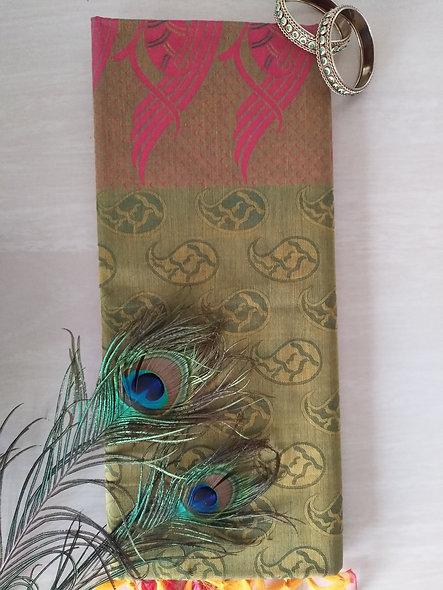 Fashion Cotton Silk Saree (Green, Pink)