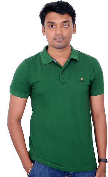 Solid Men Polo Neck Green T-Shirt