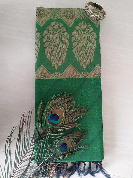 Fashion Cotton Silk Saree (Green)