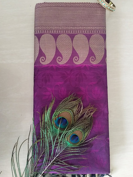Fashion Cotton Silk Saree (Violet)