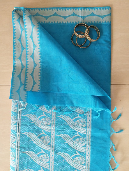 Fashion Cotton Silk Saree (Blue)