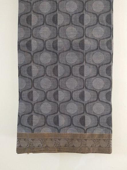 Fashion Cotton Silk Saree (Grey, Black)