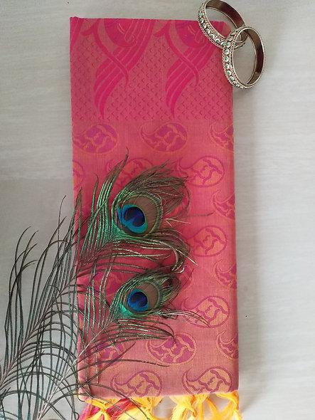 Fashion Cotton Silk Saree (Pink)