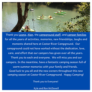 Thank you Leona, Alan, the campground st