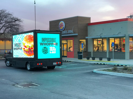 Led Truck OOH advertising introduces Impossible Whopper