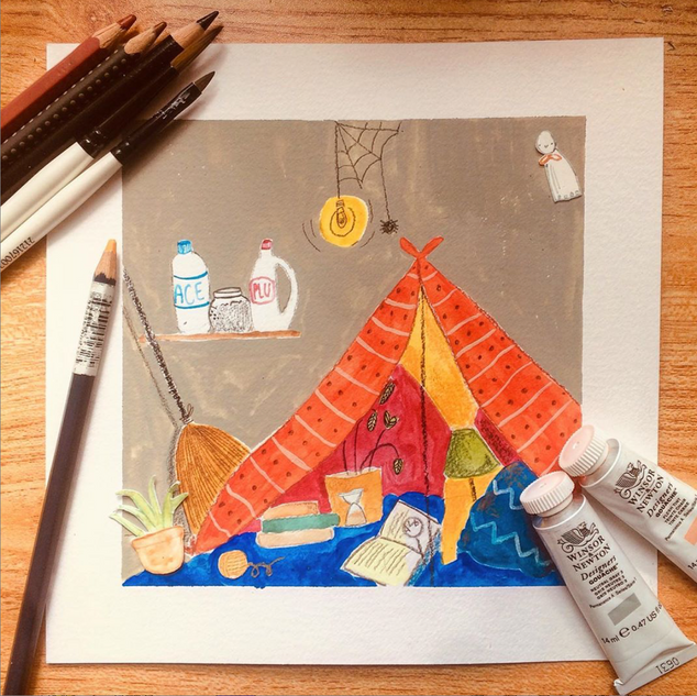 Working on some environments for a children's book I'm currently working on; gouache, watercolor, watercolor pencils, 2020