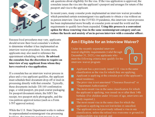Nonimmigrant Visa Interview Waivers:  Do You Qualify?