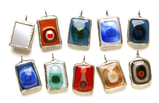 Mirror-backed Pendants