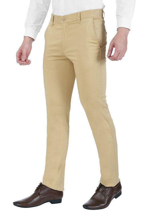 Ruan 100% Cotton Chinos Formal Trousers for Men Slim fit, Khaki