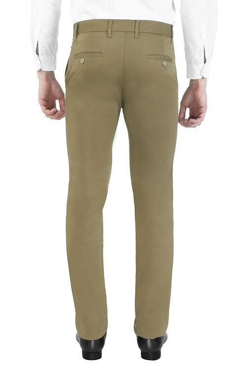 Ruan Men's Cotton Stretch Dobby Flat Front Slim Fit Formal Pant, Lt.Brown