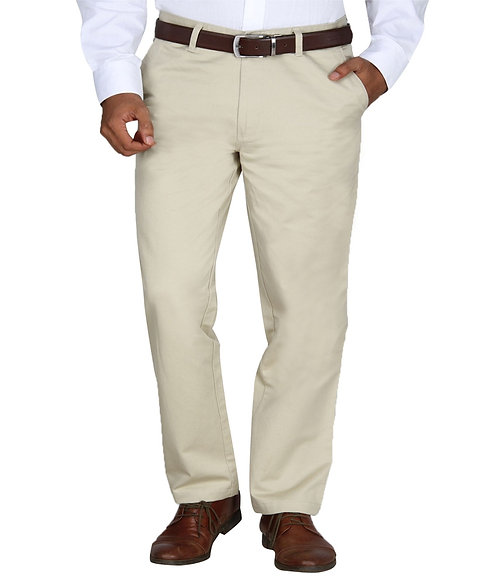 Ruan 100% Cotton Chinos Formal Trousers for Men Slim fit, Beige
