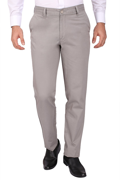 Ruan 100% Cotton Chinos Formal Trousers for Men Slim fit, Med Grey
