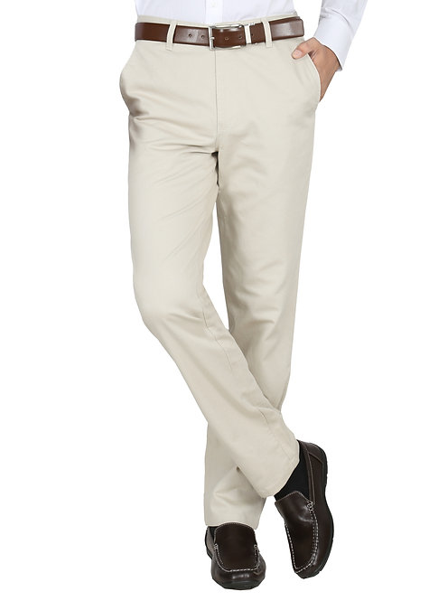 Ruan Men's Cotton Stretch Dobby Flat Front Slim Fit Formal Pant, Cream
