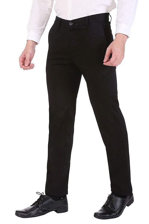 Ruan Men's Cotton Stretch Dobby Flat Front Slim Fit Formal Pant, Black