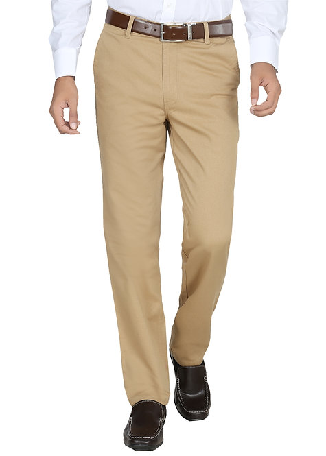 Ruan Men's Cotton Stretch Dobby Flat Front Slim Fit Formal Pant, Khaki