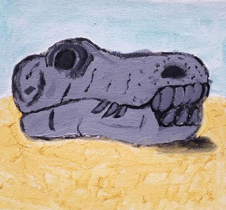 Dinosaur fossil skull painting