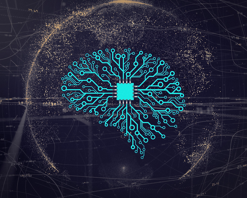 A computer chip with integrated circuit in the shape of a human brain