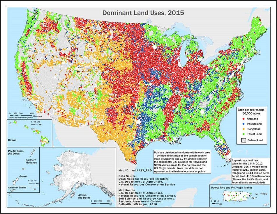Land use in US. Midwest is cropland, east coast and south are forest land, southwest is rangelands, and pasture land appears in pockets toward the middle of the country