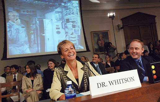 Astronaut Peggy Whitson testifying to the House Subcommittee on Space and Aeronautics