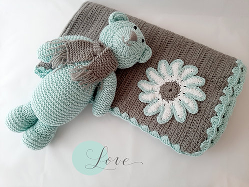 Pale Duck-egg Baby Bear & Blanket
