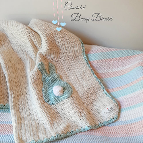 Soft Green Crocheted Bunny Blanket