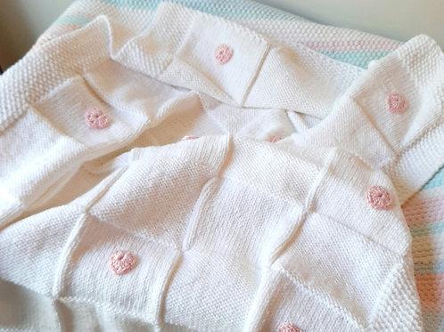 Hand Knitted White Heart Blanket