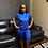 Thumbnail: Women's Royal Blue Short Set With Mesh Sleeves