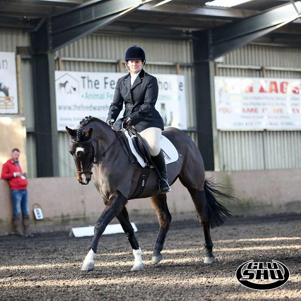 Katie and Gazelle competing in Glushu glue on horse shoes