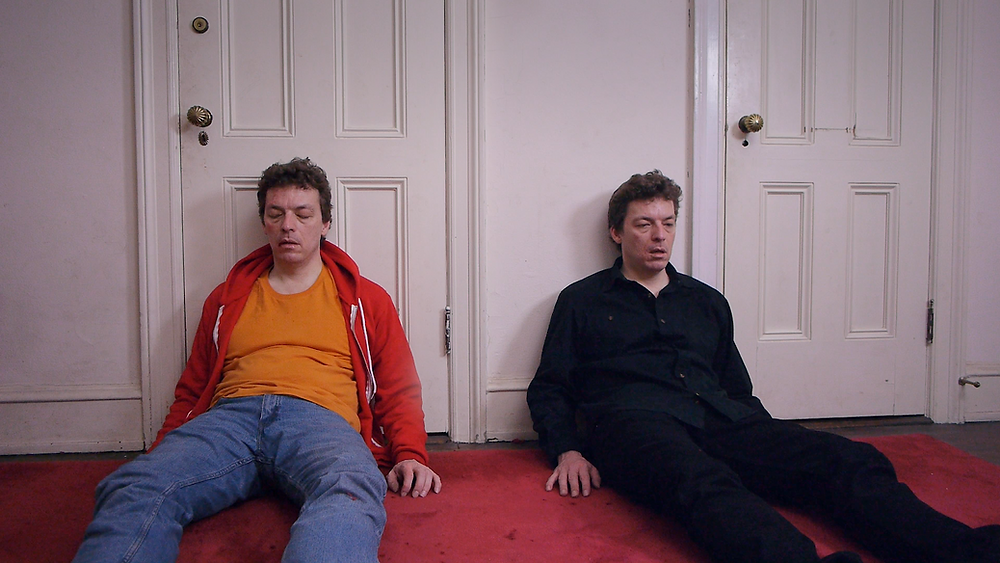 Still from final scene of Honk! Honk! wherein Lars and his nemesis are exhausted from their fight.