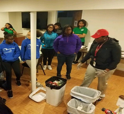 Participants practice three-bin recycling system.