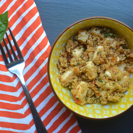 {Dishes: Summer Quinoa Salad with Balsamicy Roasted Tomatoes}