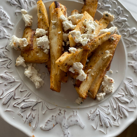 Air Fryer Yuca Fries Topped With Goat Cheese