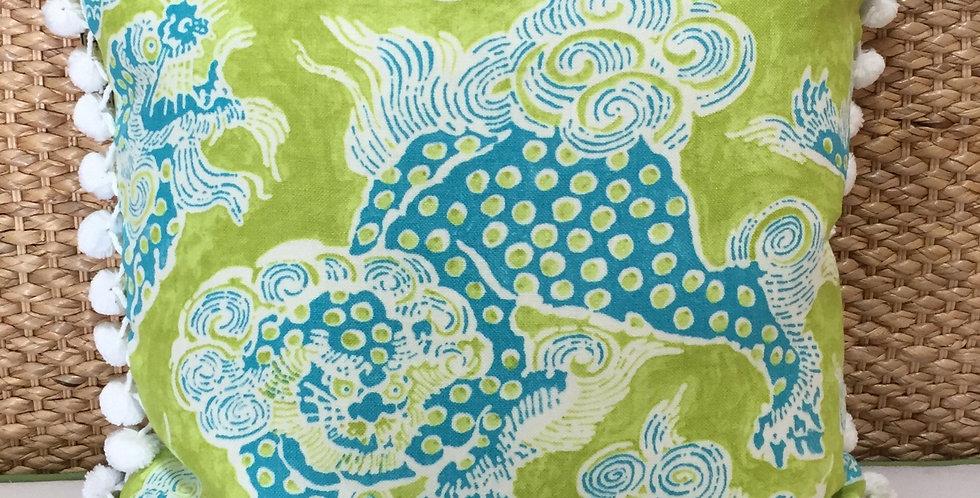 Green - Blue - White Fu Dog Pillow