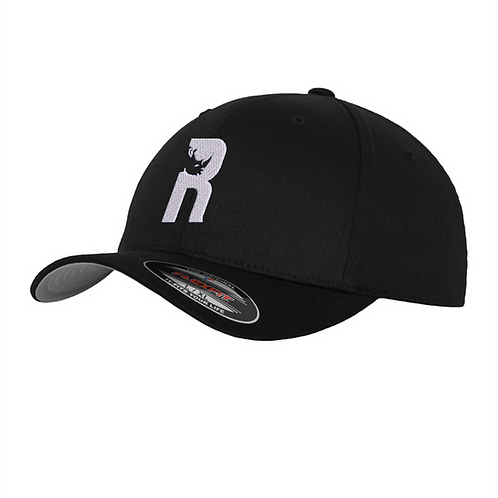 """""""R"""" Baseball Flexfit Cap with Embroidered Logo - Black"""