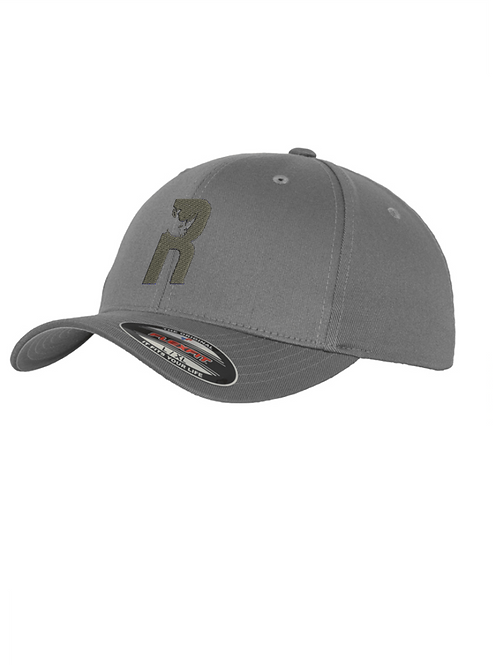 """""""R"""" Baseball Flexfit Cap with Embroidered Logo - Grey"""