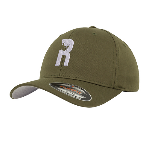 """R"" Baseball Flexfit Cap with Embroidered Logo - Olive"