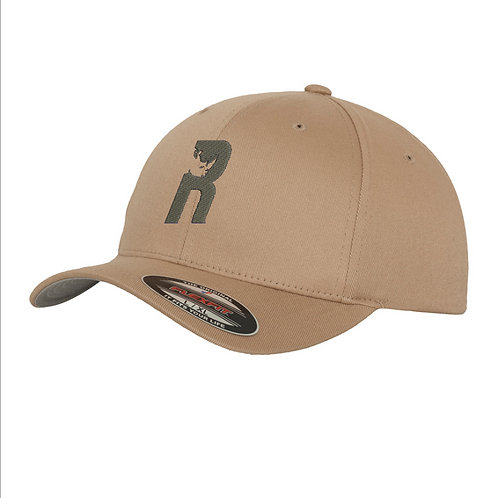 """R"" Baseball Flexfit Cap with Embroidered Logo - Khaki"
