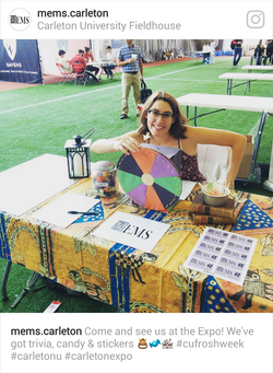 Kate showing off the trivia wheel at the 2017 clubs expo