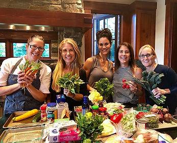 Fun cooking class with organic produce f