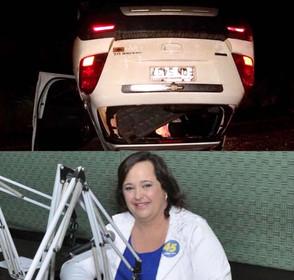 Prefeita de Santa Isabel passa mal perde o controle do carro, colide e capota
